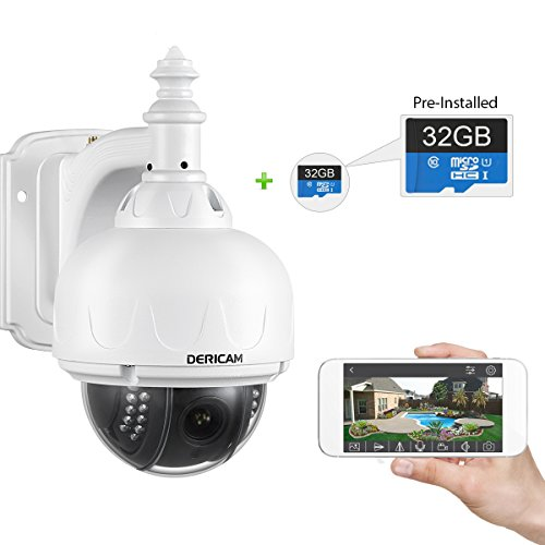 Dericam WiFi Outdoor Security Camera, PTZ IP Camera, 4x Optical Zoom, Auto-focus, 1.3 Megapixel, Pre-installed 32GB Memory Card, S1-32G White by Dericam