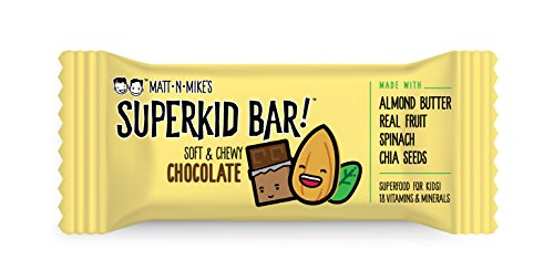 MATT N' MIKE'S SuperKid Bar! (CHOCOLATE) kid's snack energy bar – plant based protein, 3g fiber, 3g protein, gluten free, soy free, dairy free – superfood snack | 30g bar, 15 count