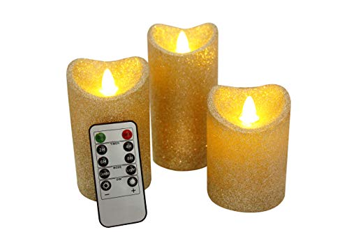LED Candles Light with Timer and Remote Control Perfect for Home Churches Wedding Birthday Christmas Halloween Festivals Party Decorations (Gold, Set of 3)