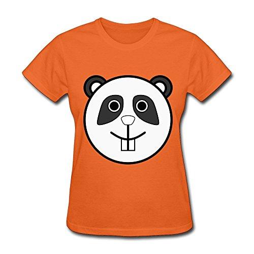 Orange Panda Face Short Sleeve Shirt For Female Size XS