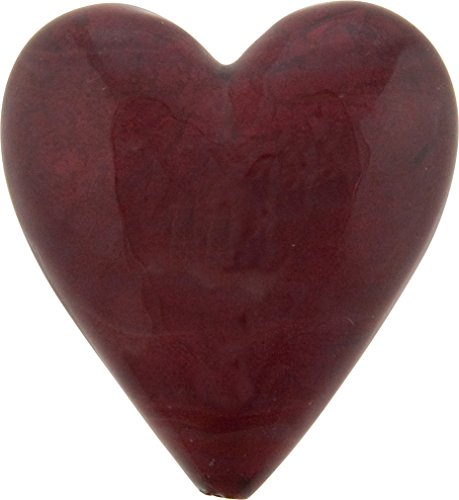 Large Murano Glass Heart Bead Red over 24kt Gold Foil 35mm by 37mm 1 Piece -