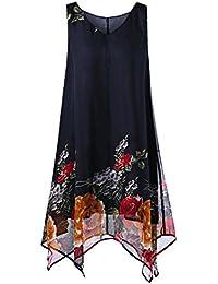 4fa850ad65889 Women s Elegant Floral Print Chiffon Plus Size Irregular Hem Mini Tank Vest  Dress