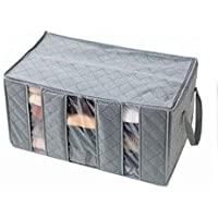 65L foldable Bamboo Charcoal fibre home Closet storage bag organizer box Sweater Blanket anti-bacterial Clothes (Grey)