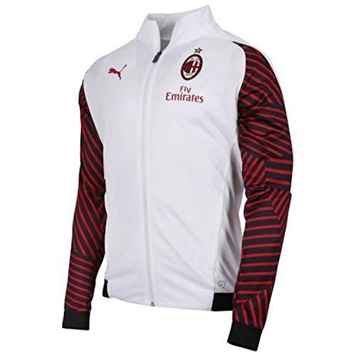 734f9c9b39e PUMA Men's AC Milan Stadium Jacket with Sponsor Outerwear, puma White/Chili  Pepper 100, M