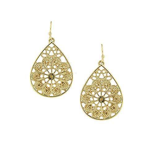 (1928 Jewelry Gold-Tone Light Brown Topaz Color Filigree Teardrop Earrings)