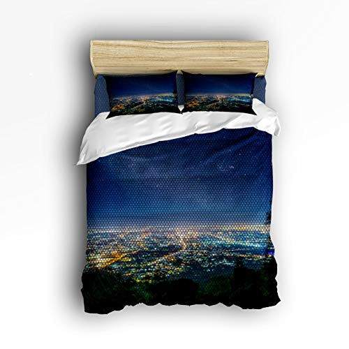 4 Piece Bedding Set Full Size, Midtown Skyline in Evening Skyscrapers Amazing Metropolis City States Photo 4 pcs Duvet Cover Set Bedspread Daybed for Childrens/Kids/Teens/Adults