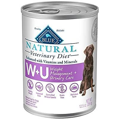 Blue Buffalo Natural Veterinary Diet W+U Weight Management + Urinary Care Grain-Free Canned Dog Food 6/12.5 oz