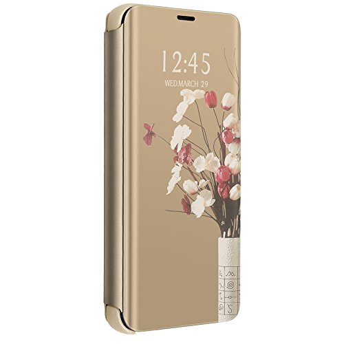 Price comparison product image Samsung Galaxy A5 2017 Case, Mirror Case Electroplate Plating Case Magnetic Flip Stand Clear View Case (Samsung Galaxy A5 2017, Gold)