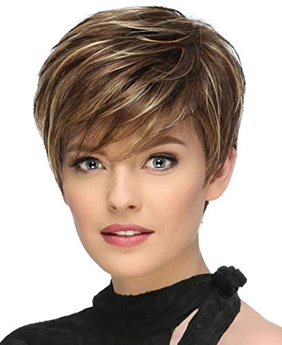 Short Pixie Wigs for White Women Brown Mixed Blonde Female Wigs Natural Looking as Real Hair P028 -