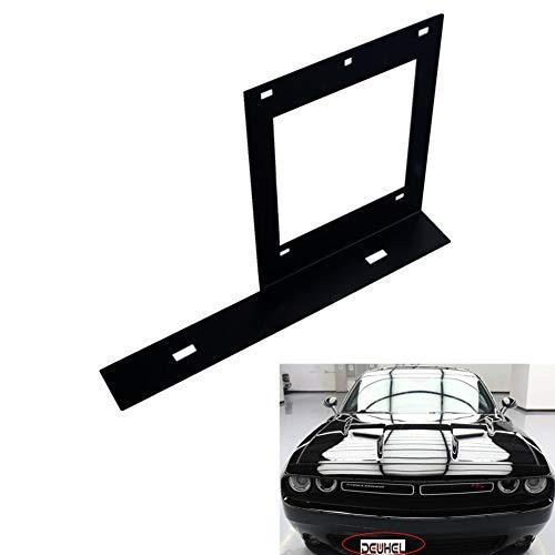 DEWHEL Black No Drill Front Bumper License Plate Bracket Relocator Compatible for 08-up Dodge Challenger