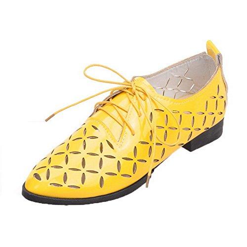 Chaussures Bas Verni à AllhqFashion Légeres Talon Pointu Femme Lacet Jaune xPYwPXq40