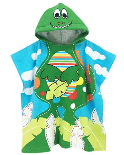 Boys' Hooded Poncho, Dinosaurs Hoodie Cotton Bath/Beach/Pool Towel for Kids Baby Toddlers Little Boys & Girls, Dinosaurs, One Size = Tag JUN