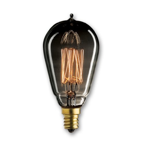 Bulbrite NOS25ST15/SQ/E12/SMK 25-Watt Nostalgic Edison ST15 bulb, Vintage Thread Filament, Candelabra Base, Smoke ()