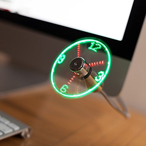 TRIXES Reloj de Escritorio y Ventilador Portatil, Flexible, USB, con Pantalla LED