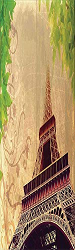 (Eiffel Tower 3D Decorative Film Privacy Window Film No Glue,Frosted Film Decorative,Eiffel Tower and Tree Leaves on Grunge Background with Swirls and Scrolls,for Home&Office,23.6x59Inch Sepia Beige)