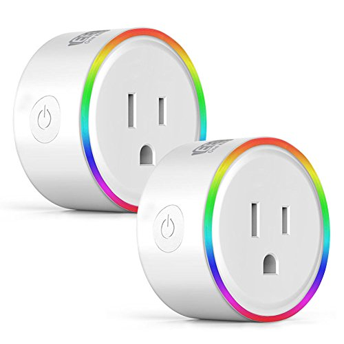 EEEKit 2-pack WiFi Smart Plug w/LED Night Light, Newest Version Outlet Works with Amazon Alexa Echo/Google Home/App and Voice Control Anywhere Anytime, Wireless Remote Control via Smartphone by EEEKit