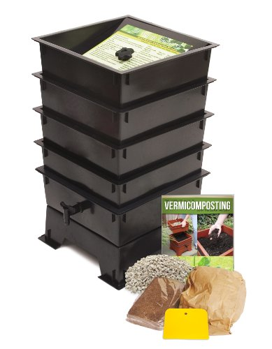 (Worm Factory DS4BT 4-Tray Worm Composter, Black)