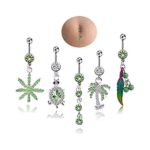 HoBST Holiday Stainless Steel Sexy Dangle Green Belly Button Rings for Men Women Girls Body Piercing Jewelry Set ()