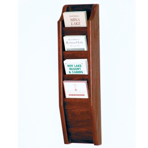 DMD Wall Mount Brochure Rack, 4 Pocket Literature Display with Mahogany Wood Finish