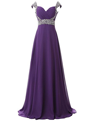 Belle House Women Long Prom Dresses 2018 With Straps A Line Formal Evening Dresses Ball Gown Purple Bridesmaid - Bh Clothing Stores