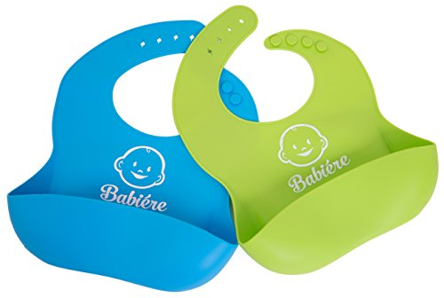 Price comparison product image Babiere Silicone Bib with Snaps and Crumb Catcher,  Blue / Green,  2 Pack