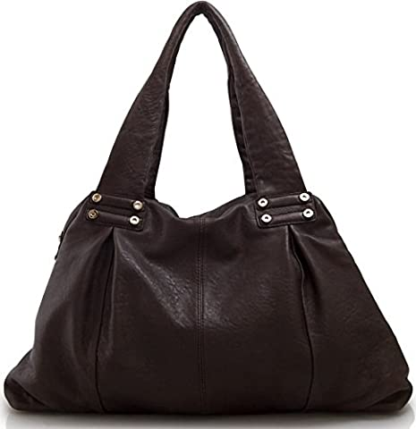 Lush Leather Lambskin Double Handle Shoulder Coffee Brown Duffle Tote Bag - Lambskin Leather Tote Bag
