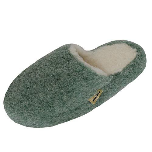 100 Chauffe Mouton Pantoufles Look Laine Semelle Doux Samwo Vert De En dérapante unisexe Confortable reins Taille Anti COxw6wdq4