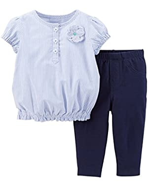 Baby Girls' 2 Piece Cotton Top & Legging Set - Blue