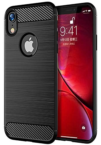 iPhone XR Case, UCC Frosted Shield Luxury Slim TPU Bumper Cover Carbon Fiber Design and Anti-Scratch and Non-Slip Case Cover for iPhone XR 6.1 (Black)