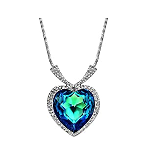 NEOGLORY Blue Crystal Platinum Plated Heart Pendant Necklace with Clear Cubic Zirconia Embellished with Crystals from…