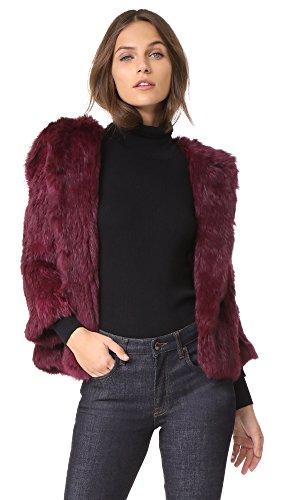 Rachel Zoe Women's Rose Jacket, Boysenberry, (Rabbit Fur Crop)