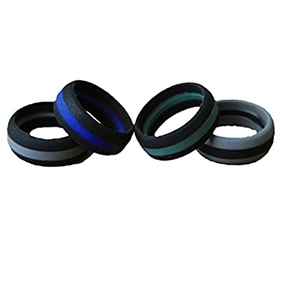 NAK Fitness Men's Silicone Wedding Ring. Silicone Wedding Rings for The Active Lifestyle. Wedding Band 4 Pack