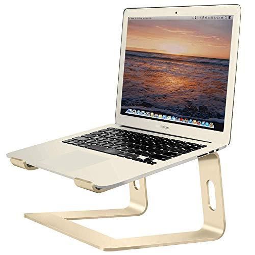 Soundance Aluminum Laptop Stand for Desk Compatible with Mac MacBook Pro/Air Apple 12″ 13″ Notebook, Portable Holder Ergonomic Elevator Metal Riser for 10 to 15.6 inch PC Desktop Computer, LS1 Gold