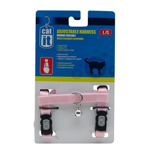 Bracket Large Bell - Catit Nylon Adjustable Cat Harness, Large, Pink