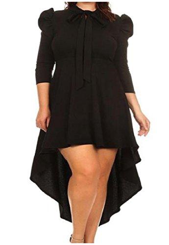 Irregolare Womens Plus Arco 3 nodo Vestito As1 4 Comodi Solido Manica Casuale Size pr1xTp