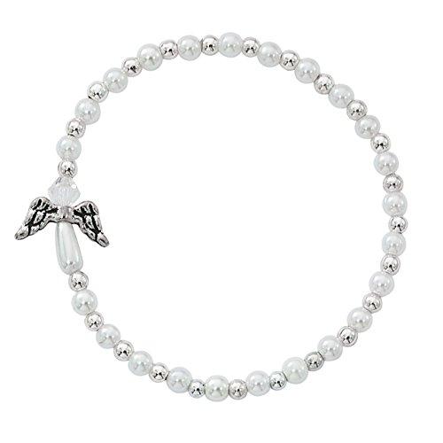 Stretch Bracelet 1/2 - White Acrylic Bead Guardian Angel Charm Stretch Bracelet, 6 1/2 Inch