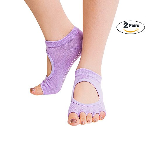 Half-Toe Womens Yoga Socks, Super Grip Non Slip Skid Yoga Pilates Barre cotton socks 2 Packs for Women's & Girls