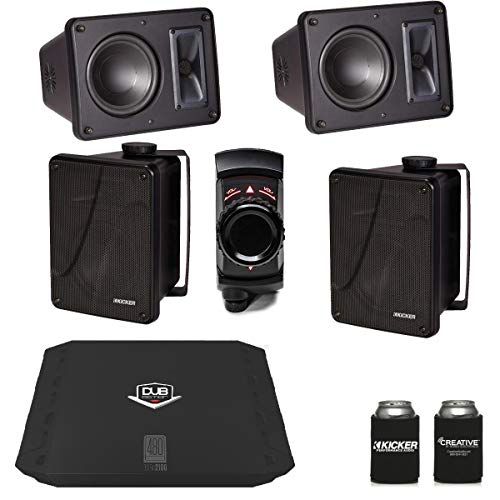 Kicker KB6000 Black Outdoor Speakers (2 Pairs) with Dub 480 Watt Amplifier & MB Quart N2-WBT Bluetooth Receiver
