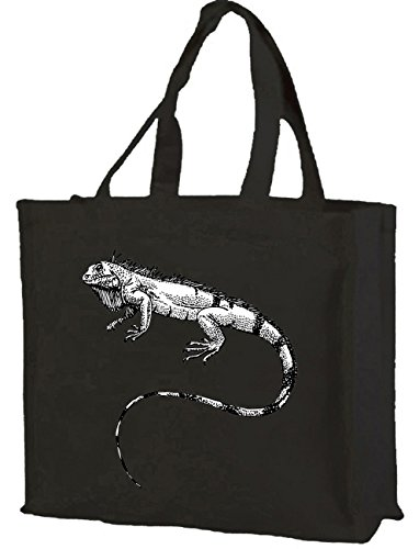 gusset cols Shopping Cotton choice Bag of black with Iguana 7xZaCwRqC