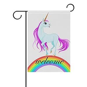 bennigiry Rainbow Unicorn decorativo Welcome Colorful Mulitcolor, diseño bandera de Jardín, multicolor, 28x40(in)