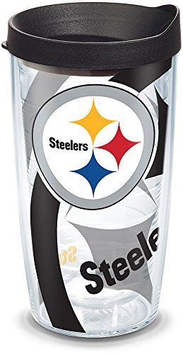 - Tervis 1292810 NFL Pittsburgh Steelers Insulated Wrap and Black Lid 16oz Tumbler, 16 oz, Clear