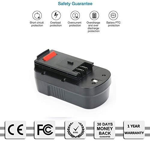A18E A1718 FS180BX HPB18-OPE FS18BX 244760-00 FSB18 A18 REEXBON 18V 3000mAh NIMH Remplacement Batterie pour Black /& Decker HPB18 FS18FL