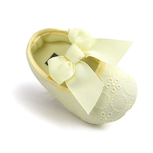 Baby Girls Princess Bowknot Soft Sole Cloth Crib Shoes Sneaker Yellow, 6-12 Months