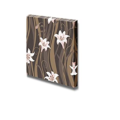 Delicate Curl Lily Flower Pattern Seamless Background Wall Decor 16