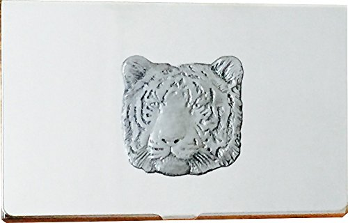 Chrome Business Card and Credit Card Holder Case with Pewter Tiger Emblem, Complete with Gift Box