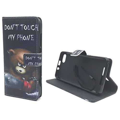 König-Shop Wiko Jerry Bolsa Protectora De Funda De Teléfono Móvil Wallet Bolsa, Bolsillo, Funda piel artificial - have a nice day dedo medio Dont touch my Phone Bär