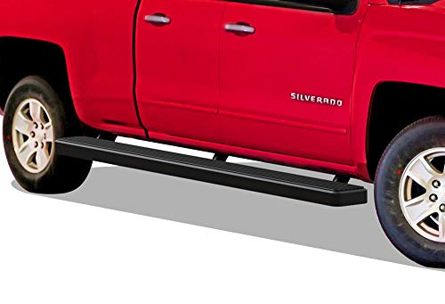 "APS Wheel to Wheel Running Boards 6"" Custom Fit 2007-2018 Chevy Silverado GMC Sierra Double Cab/Extended Cab 6.5ft Bed & 2019 2500 HD / 3500 HD (Nerf Bars 