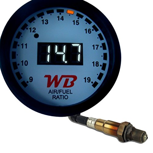 """WB D2 Digital Wideband O2 Air Fuel Ratio Controller All-in-One 2 1/16"""" (52mm) Gauge - White Faceplate (White)"""
