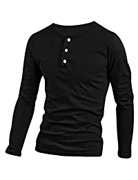 uxcell 1/4 Placket Round Neck Long Sleeve Casual T-Shirt for Men