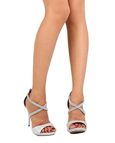 Cathy Din Fc08 Sandalo Donna In Similpelle Con Punta Aperta E Strass A Fascia Con Sandalo Stiletto - Argento